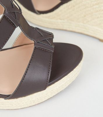 9e36a29e9f7 Wide Fit Brown Strappy Espadrille Wedge Sandals New Look
