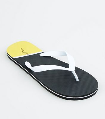 Black Colour Block Sole Flip Flops