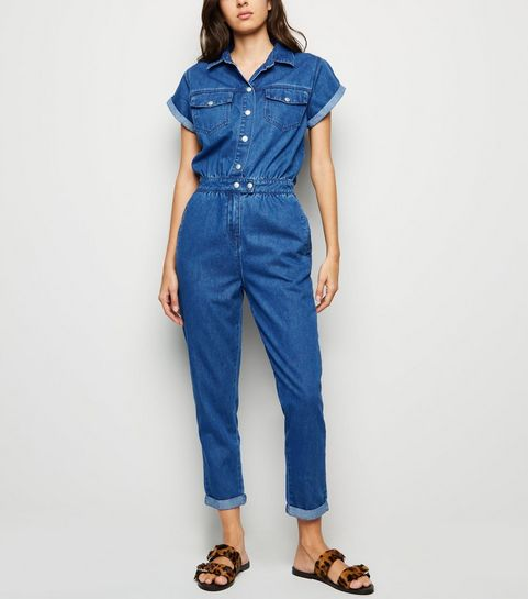 96b7c2dd34 Mid Blue Denim Boilersuit · Mid Blue Denim Boilersuit ...