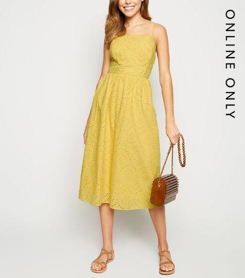 7ef59504f9f8 ... Yellow Broderie Strappy Midi Dress ...