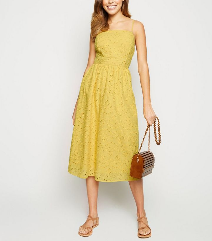 07a4faaf54 Yellow Broderie Strappy Midi Dress | New Look