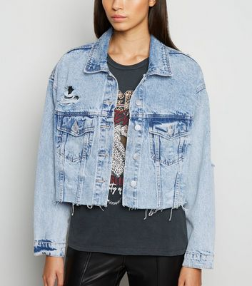 Blue Acid Wash Fray Hem Denim Jacket