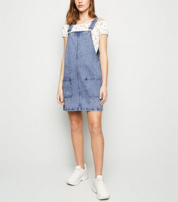 Blue Acid Wash Denim Pinafore Dress