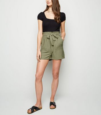Tall Olive Twill Paperbag Shorts