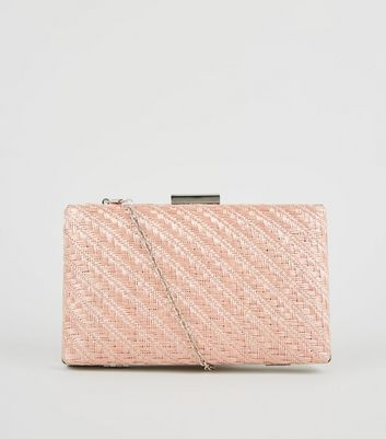 Rose Gold Woven Outer Clutch Bag