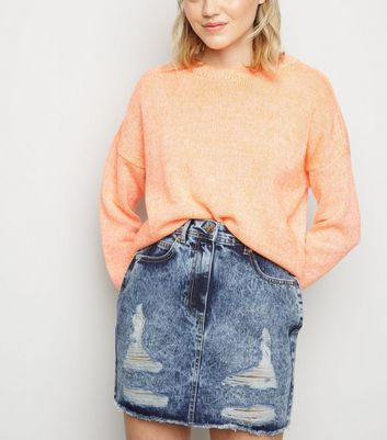 Blue Ripped Acid Wash Denim Skirt