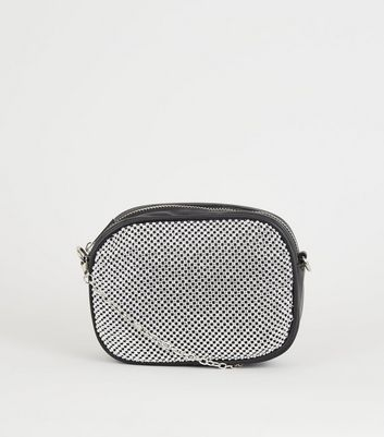 Black Leather-Look Diamnté Camera Bag