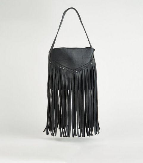 ... Black Leather-Look Fringed Western Bag ... ff6c44bc23b92