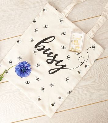 Cream Busy Slogan Bee Print Canvas Bag
