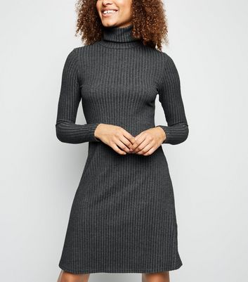 Tall Dark Grey Brushed Rib Knit Roll Neck Dress