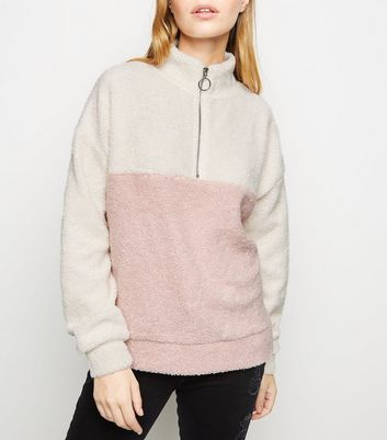 Petite Pink Half Zip Colour Block Borg Sweatshirt