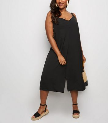 Curves Black Button Side Jumpsuit
