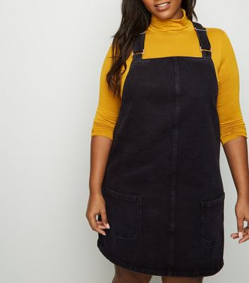 Curves Black Buckle Denim Pinafore Dress
