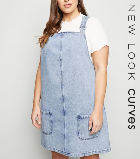 181210acd5f ... Curves Pale Blue Acid Wash Denim Pinafore Dress ...
