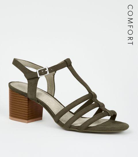 4ccff4c59f34 ... Khaki Comfort Flex Suedette Block Heels ...