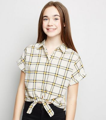Girls Yellow Check Grid Tie Front Shirt