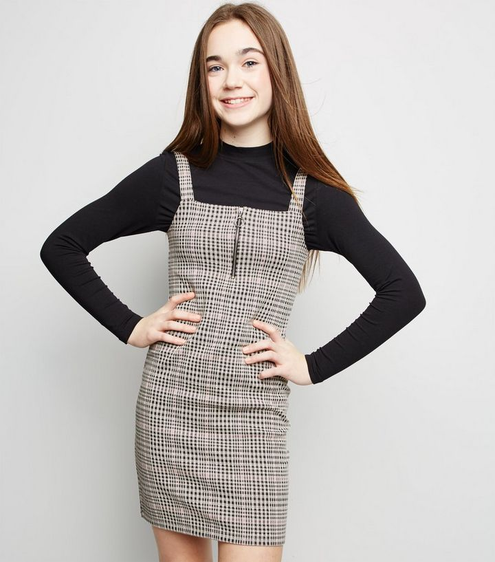 bb7fc6608538 Girls Pink Check Zip Bodycon Pinafore Dress | New Look