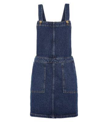 shop for Tall Blue Denim Mini Pinafore Dress New Look at Shopo