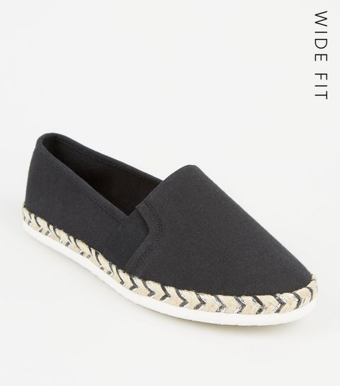 a791ea6e6197 ... Wide Fit Black Canvas Metallic Sole Espadrilles ...