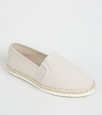 Wide Fit Grey Canvas Metallic Sole Espadrilles