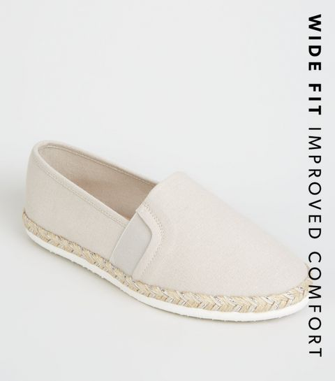 eac931c6ac0 ... Wide Fit Grey Canvas Metallic Sole Espadrilles ...