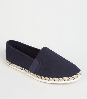 Wide Fit Navy Canvas Metallic Sole Espadrilles