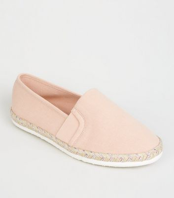 Wide Fit Pink Canvas Metallic Sole Espadrilles