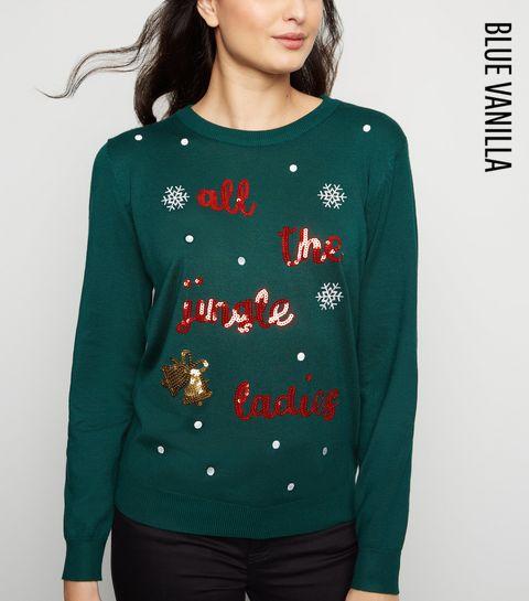 9f5a8fbe ... Blue Vanilla Green Jingle Ladies Sequin Christmas Jumper ...