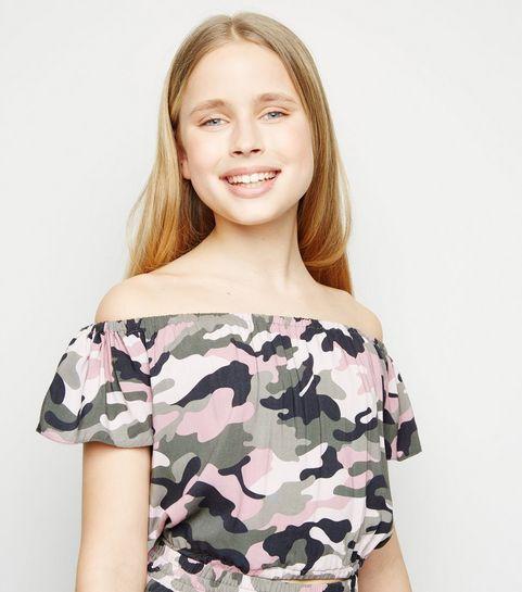 ... Girls Pink Camo Bardot Top ... ada45f8d9