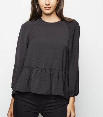 Dark Grey 3/4 Sleeve Peplum Blouse