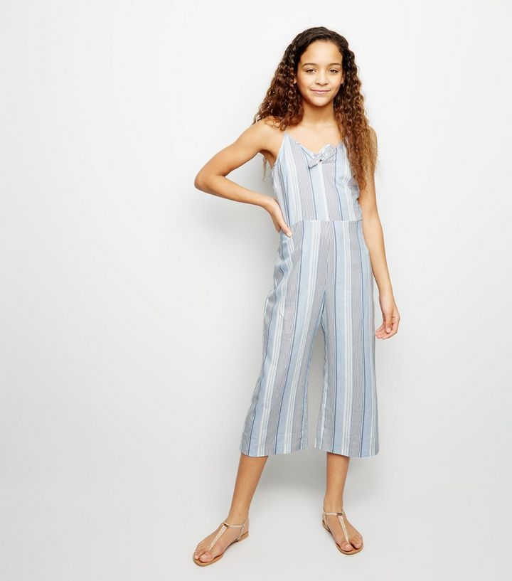 87bec8e204fa Girls Blue Linen Blend Tie Front Jumpsuit