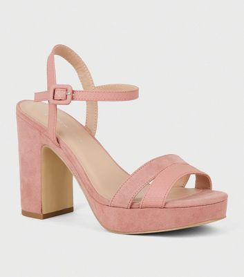 Wide Fit Pink Suedette Strappy Platform Sandals