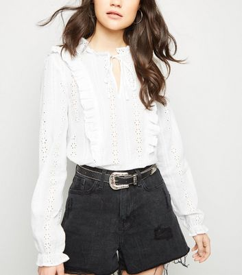 White Cutwork Long Sleeve Blouse