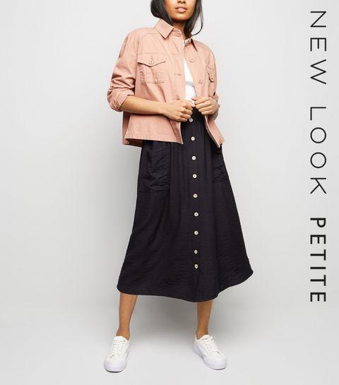 8c5748e8ecd ... Petite Black Twill Button Front Midi Skirt ...