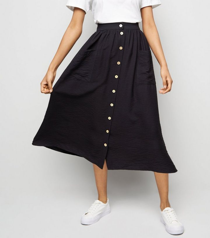 f6798119abd ... Petite Black Twill Button Front Midi Skirt. ×. ×. ×. Shop the look