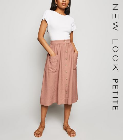 c171344ffbe ... Petite Deep Pink Twill Button Front Midi Skirt ...