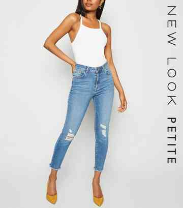 Petite Blue 'Lift & Shape' High Rise Ripped Jeans