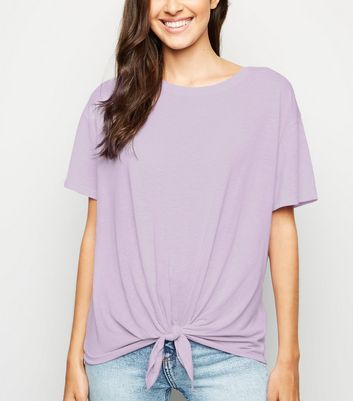 Lilac Linen Look Tie Front T-Shirt