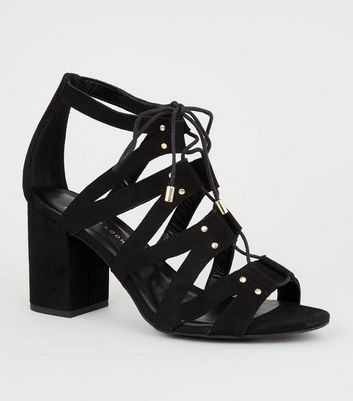 Wide Fit Black Lace Up Ghillie Block Heels