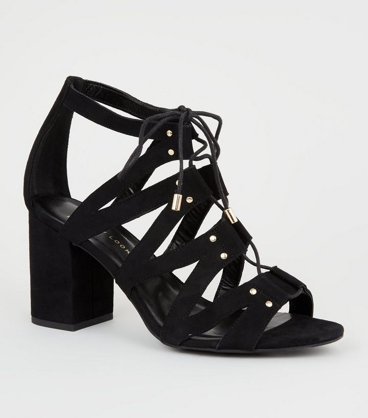 d7dd43e4f0b6c Wide Fit Black Lace Up Ghillie Block Heels | New Look