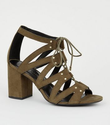 Wide Fit Khaki Lace Up Ghillie Block Heels