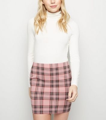 Petite Pink Check Jersey Tube Skirt