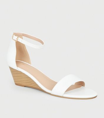 White Leather-Look 2 Part Wedge Sandals