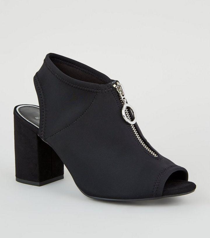 21723c7db4 Wide Fit Black Ring Zip Peep Toe Heels | New Look