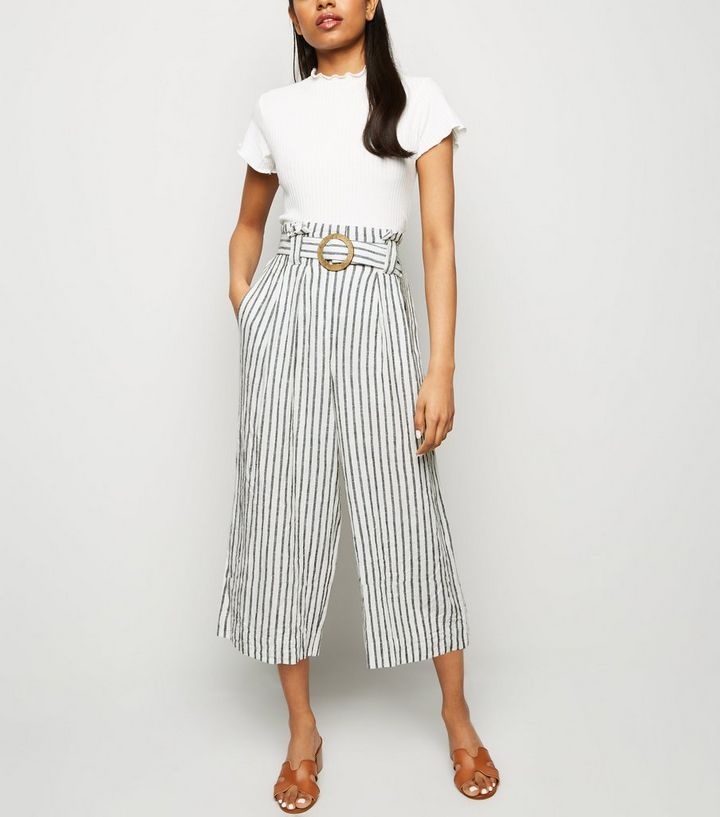 3029fa197b Petite Off White Linen Blend Cropped Trousers