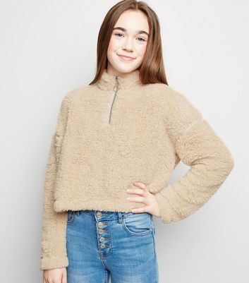 Girls Camel Teddy Borg Funnel Neck Sweatshirt
