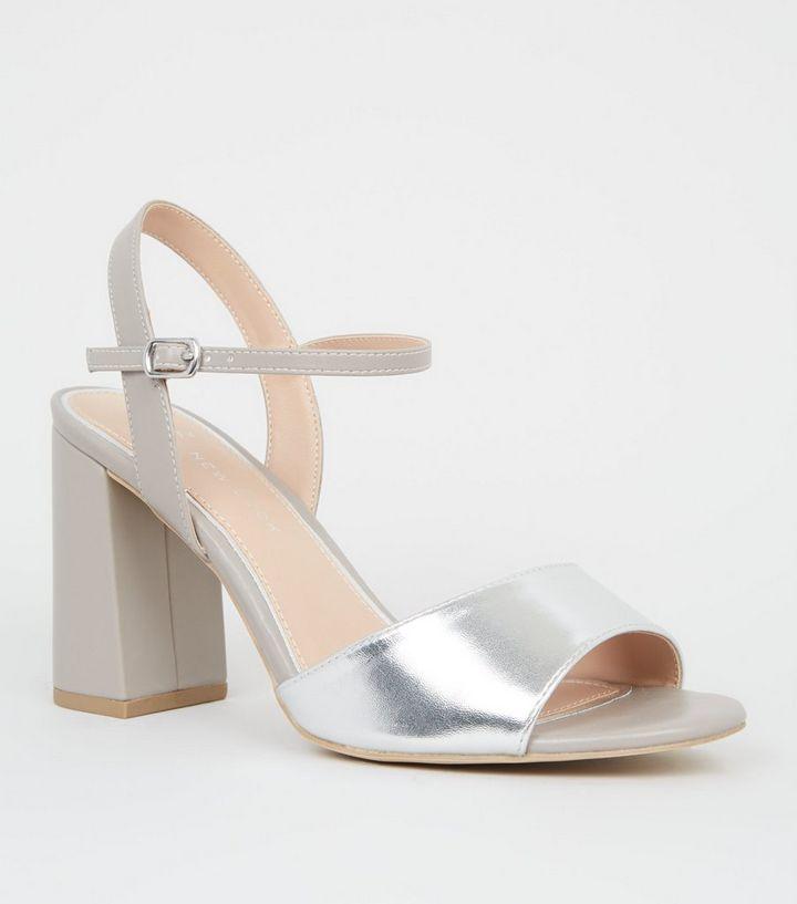 various colors big discount pick up Wide Fit Silver Metallic Flare Heel Sandals | New Look