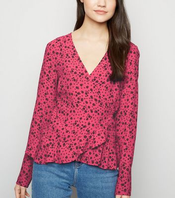 Womens Red Floral Top Blouse Long Sleeve Ruffle Detail Wrap Top