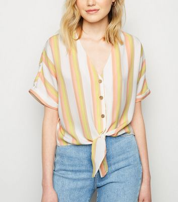 White Stripe Print Button Tie Front Shirt
