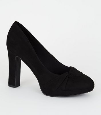Wide Fit Black Twist Platform Court Shoes